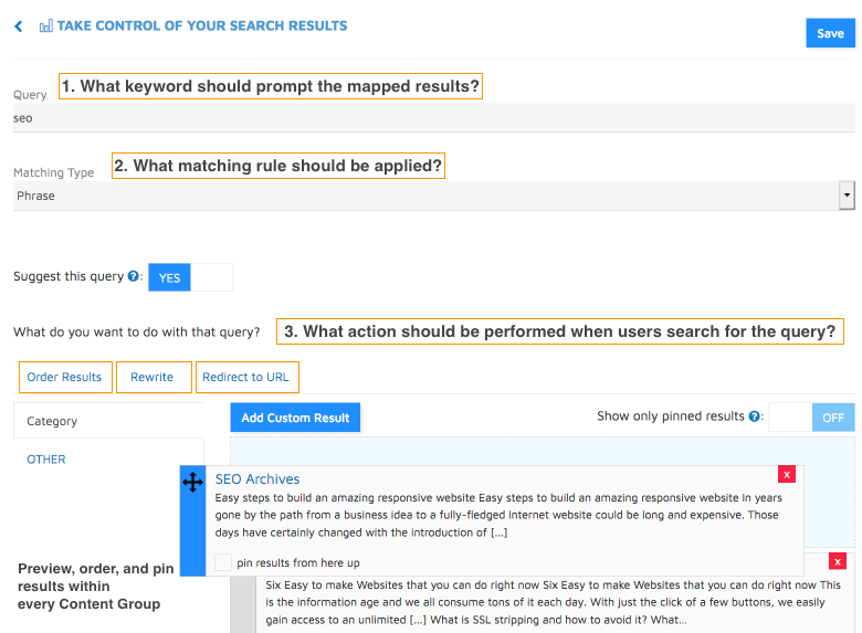 customize results for selected queries