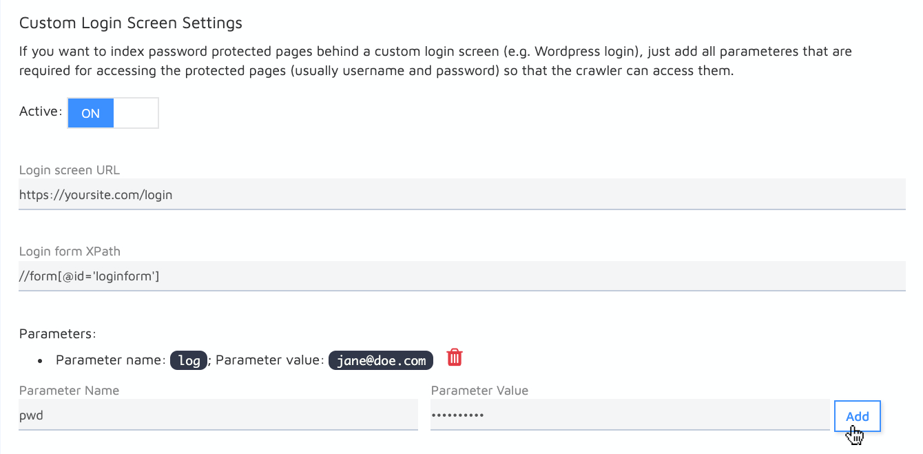 set up custom login screen settings to access password-protected content