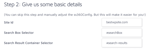 specify CSS selectors to render search results
