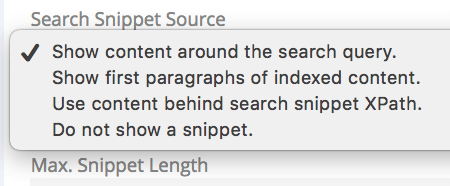 change search result snippets