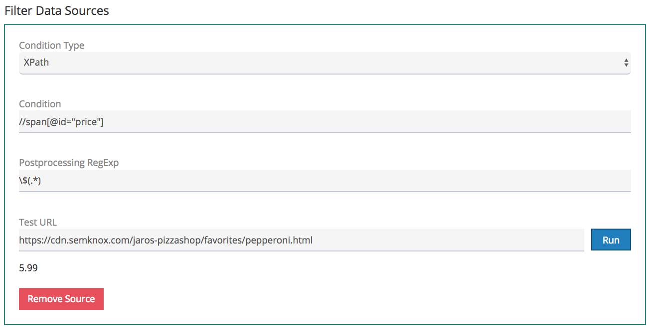 set up filter with XPath