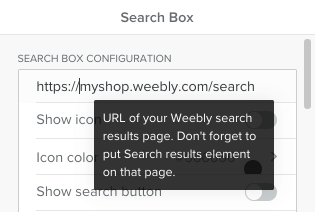 specify a search result page URL