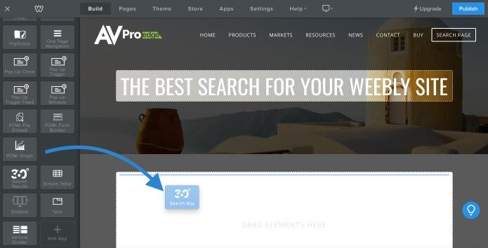 drag and drop Site Search 360 search box to weebly page
