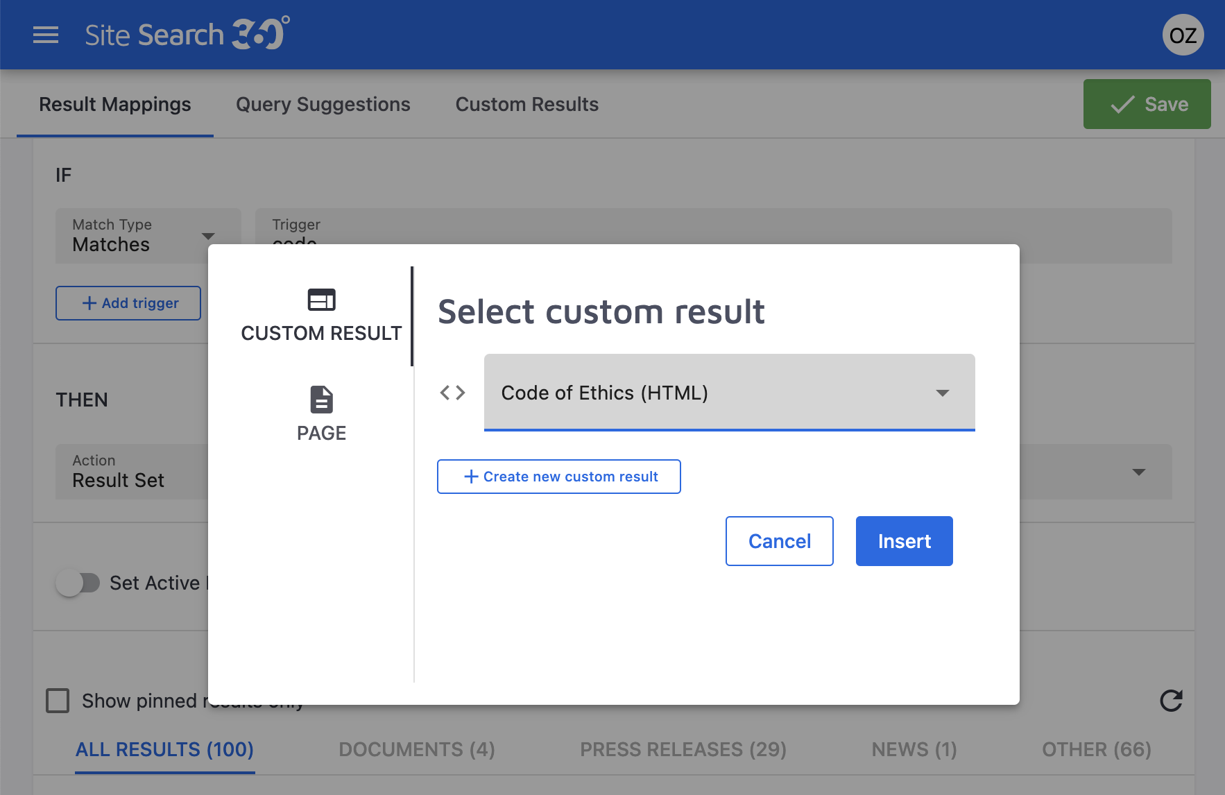 select a custom result to add to your result mapping
